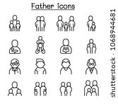 father icon set in thin line... | Shutterstock .eps vector #1068944681