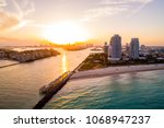 aerial twilight image of miami... | Shutterstock . vector #1068947237