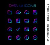 data and media ui icons set for ...
