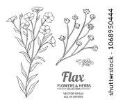 flax vector set | Shutterstock .eps vector #1068950444