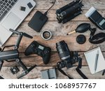 top view of work space... | Shutterstock . vector #1068957767