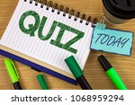 writing note showing  quiz.... | Shutterstock . vector #1068959294