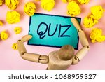 handwriting text writing quiz.... | Shutterstock . vector #1068959327