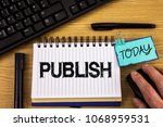 text sign showing publish.... | Shutterstock . vector #1068959531