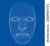 wire frame abstract human face. ... | Shutterstock .eps vector #1068964751