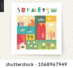 idillic summer landscape...   Shutterstock .eps vector #1068967949