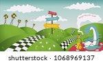 Stock vector wonderland fantastic landscape with roses caterpillar smokes a hookah horizontal banner vector 1068969137