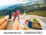 legs of traveler couple | Shutterstock . vector #1068969281