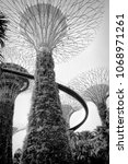 Small photo of SINGAPORE - APRIL 14, 2018: Black and white view of The Supertree at Gardens by the Bay in Singapore. Spanning 101 hectares, and five-minute walk from Bayfront MRT Station.
