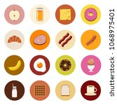 breakfast icons  apple  orange... | Shutterstock .eps vector #1068975401