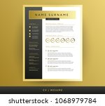 golden cv   resume template in... | Shutterstock .eps vector #1068979784
