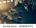 high angle of a group of people ... | Shutterstock . vector #1068984701