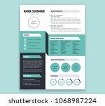 cv resume template design  ... | Shutterstock .eps vector #1068987224