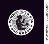 western cowboy emblem   stamp... | Shutterstock .eps vector #1068989384