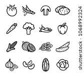vegetables thin line icons set. ...   Shutterstock .eps vector #1068992324