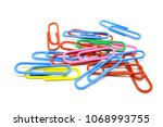 colorful paper clips isolated... | Shutterstock . vector #1068993755