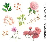 watercolor pink and green... | Shutterstock . vector #1068997517