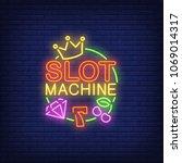 slot machine neon sign. number... | Shutterstock .eps vector #1069014317