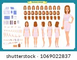 pretty female office employee... | Shutterstock .eps vector #1069022837