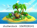 treasure island with palms and... | Shutterstock .eps vector #1069028141
