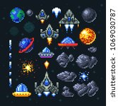 retro space arcade game pixel... | Shutterstock .eps vector #1069030787