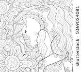 adult coloring page book a cute ... | Shutterstock .eps vector #1069034081