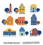 urban european houses  big set. ... | Shutterstock .eps vector #1069037099