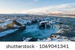 the godafoss is a waterfall in... | Shutterstock . vector #1069041341