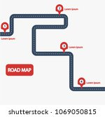 car road map with red markers... | Shutterstock .eps vector #1069050815
