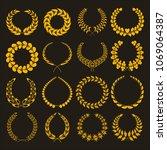 set of silhouettes of golden... | Shutterstock .eps vector #1069064387