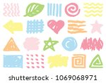 set of colorful hand draw... | Shutterstock .eps vector #1069068971