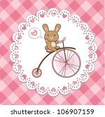 cute hare on a bicycle  vector  | Shutterstock .eps vector #106907159