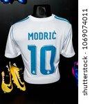 Small photo of MADRID - APRIL 14, 2018: Luca Modric 10, Actual shirt of season 2017-2018, Museum of Real Madrid soccer team, Santiago Bernabeu Stadium