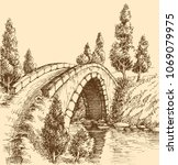 bridge over river landscape | Shutterstock .eps vector #1069079975