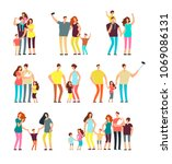 happy family groups. adult... | Shutterstock .eps vector #1069086131