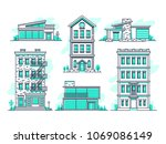 contemporary urban and suburban ... | Shutterstock .eps vector #1069086149