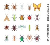 flat insects icons set.... | Shutterstock .eps vector #1069086161
