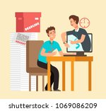 frustrated man workaholic with... | Shutterstock .eps vector #1069086209