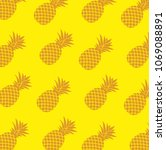tropical pattern with pineapple ... | Shutterstock .eps vector #1069088891