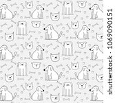 hand drawn cute dogs pattern... | Shutterstock .eps vector #1069090151