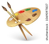 wooden artist palette with... | Shutterstock .eps vector #1069097837