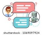 human conversation with robot... | Shutterstock .eps vector #1069097924
