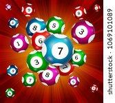 random bingo balls on a red... | Shutterstock .eps vector #1069101089
