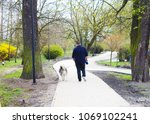 Stock photo full of man walking with a dog in the park 1069102241