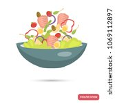 plate with salad color flat icon | Shutterstock .eps vector #1069112897