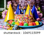 birthday cake with rainbow... | Shutterstock . vector #1069115099