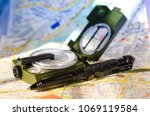 tourist compass and tactical... | Shutterstock . vector #1069119584