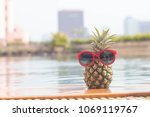 summer funny  pineapple in... | Shutterstock . vector #1069119767