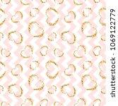 gold heart seamless pattern.... | Shutterstock .eps vector #1069122779