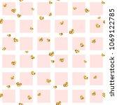 gold heart seamless pattern.... | Shutterstock .eps vector #1069122785